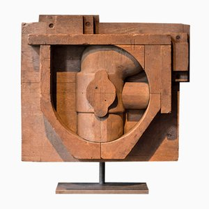 Konstruktivistische Eichenholz Skulptur, 1940er