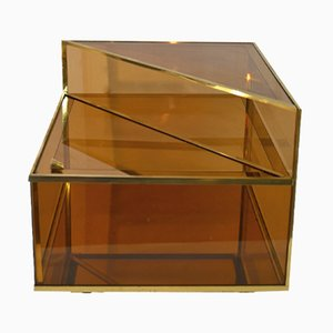 Italian Glass and Brass Cocktail Table, 1970s
