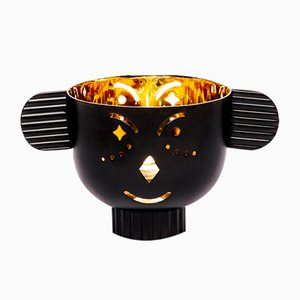 Pipoz Brass Candleholder with Black Exterior by Jaime Hayon for Paola C.