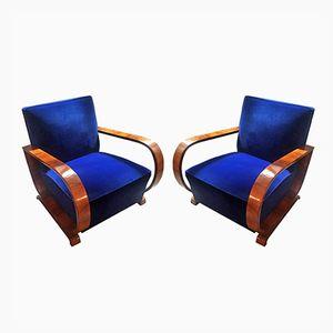 Französische Art Deco Walnuss und Samt Armlehnstühle, 1930er, 2er Set