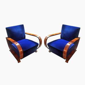 French Art Deco Walnut and Blue Velvet Armchairs, 1930s, Set of 2