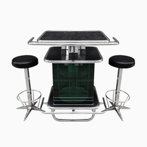 Vintage Green Plastic & Chrome Bar with 2 Stools