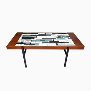 German Veneered Teak Coffee Table with Abstract Mosaic and Steel Frame, 1960s