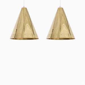 Brass Pendant Lamps by Lars Holmström, Set of 2