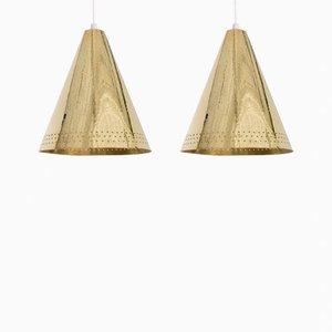 Brass Pendant Lamps by Lars Holmström, Set of 2