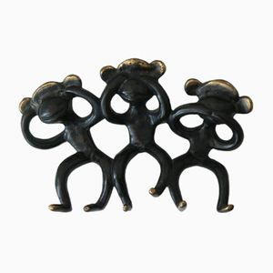 Wall Hook by Walter Bosse with 3 Monkeys, 1950s