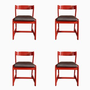 Chaises de Salle à Manger Rouge par Willy Rizzo pour Mario Sabot, 1974, Set de 4