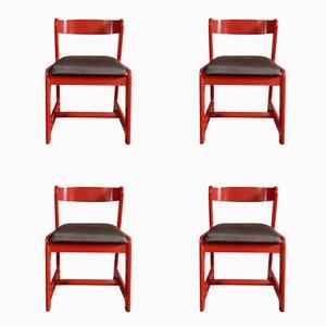 Rote Esszimmerstühle von Willy Rizzo für Mario Sabot, 1974, 4er Set