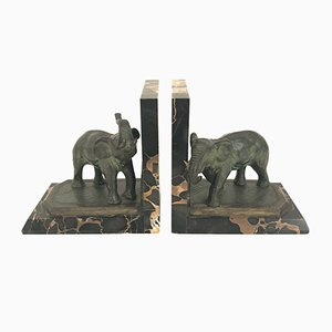 Antique Marble Bookends with Bronze Elephants by Albert Marionnet, Set of 2
