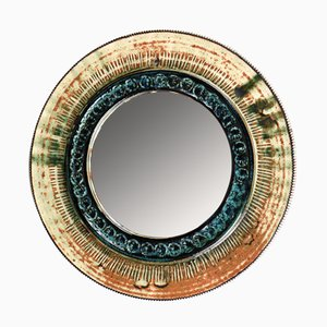 Danish Ceramic Wall Mirror, 1970s