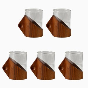 Mid-Century Kasco Teak & Glass Cups from Jenaer Glaswerk Schott & Gen, 1960s, Set of 5