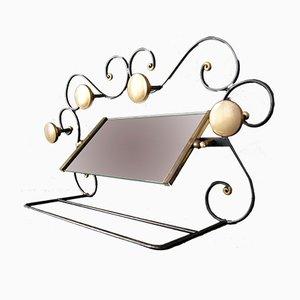 Appendiabiti Art Déco in ferro battuto, vetro e ottone