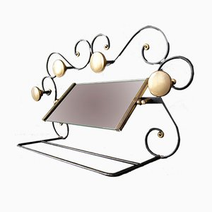 Art Deco Wrought Iron, Glass & Brass Clothing Rack