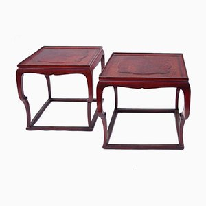 Red-Lacquered Side Tables, 1920s, Set of 2