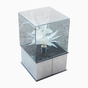 Italienische Metall und Glasfaseroptik Lampe, 1970er