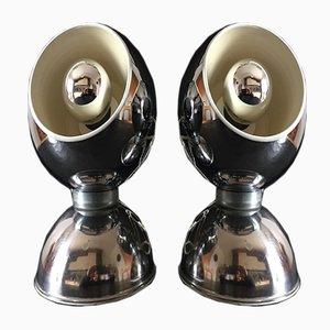 Lámpara de mesa italianas de acero cromado de Goffredo Reggiani, años 70. Juego de 2