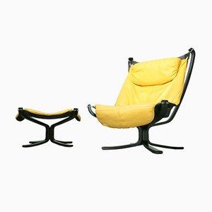 Vintage Yellow en Cuir Falcon Chair & Footstool par Sigurd Ressell pour Vatne Møbler, 1970s