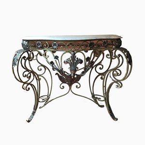 Lacquered Iron & Marble Top Console, 1940s