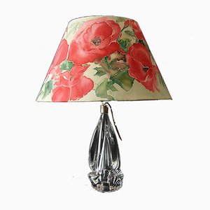 French Table Lamp with Glass Stand and Floral Shade, 1950s