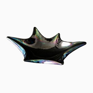 Dark Mid-Century Carnival Glass Bowl