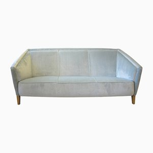 Swedish Light Blue Velvet Sofa, 1940s