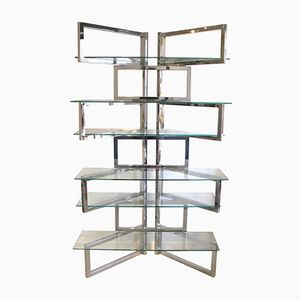 Glass & Chrome Plated Shelving Unit, 1960s