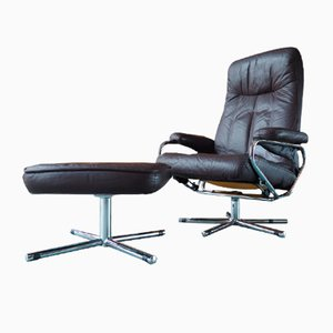 Mid-Century Brown Leather Swivel/Reclining Chair & Footstool from Skoghaug Industri