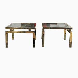 Messing und Glas Beistelltische von Belgo Chrom, 1970er, 2er Set