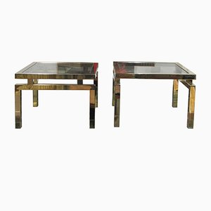 Tables d'Appoint en Laiton et Verre de Belgo Chrom, 1970s, Set de 2