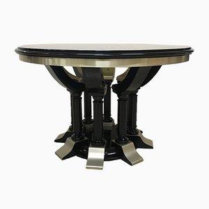 Table de Salle à Manger Rounde en Chrome & Bois Laqué Noir, 1970s