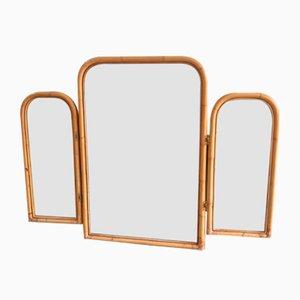 Mid-Century Italian Triptych Bamboo Wall Mirror, 1970s