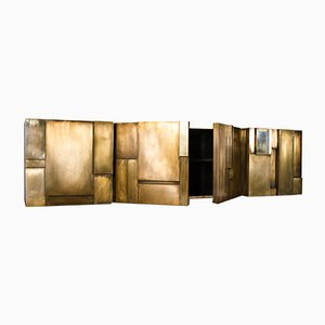 MUR Hand Brushed & Patinated Matt Finished Brass Sheet Faced Sideboard by Privatiselectionem