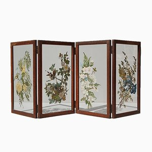 Belgian Hand-Painted Folding Glass Table Screen, 1940s