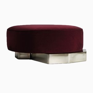 FLAT Pouf in Cotton Velvet with Hand Silvered Patinated Brass Base by Privatiselectionem