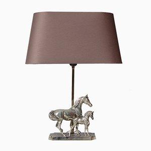 Lampe de Bureau Cheval Plaqué Argent avec Poulain, 1980s