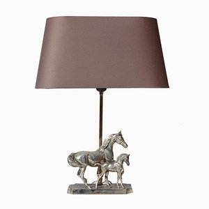 Silver Plated Horse with Foal Table Lamp, 1980s