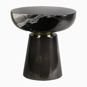Ya Yo Liquid Metal & Marble Faced Side Table by Privatiselectionem