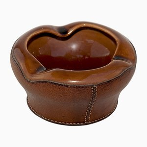 Cenicero vintage de cuero y cerámica de Longchamp