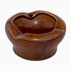 Vintage Aschenbecher aus Leder & Keramik von Longchamp