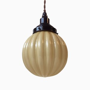 Art Deco Fluted Opaline & Bakelite Pendant Lamp from Nordisk Solar, 1930s