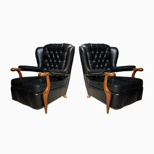 French Black Leatherette Chesterfield Club Chairs, 1940s, Set of 2