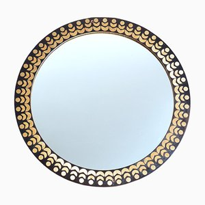 Mid-Century Round Wall Mirror with Wooden Inlay Frame, 1970s