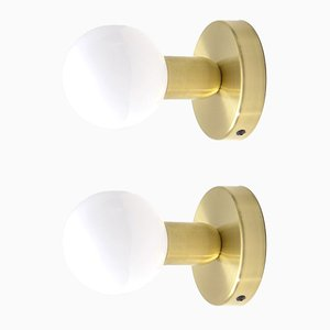 Appliques Murales Minimal en Laiton Massif de Balance Lamp, Set de 2