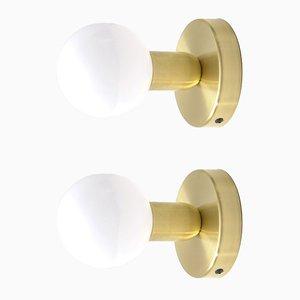 Minimalistische Wandlampen aus massivem Messing von Balance Lamp, 2er Set
