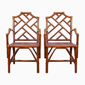 Vintage Bamboo Armchairs, Set of 2