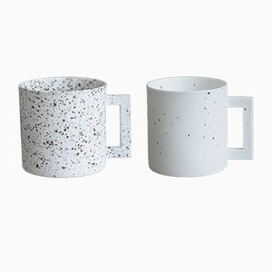 S.Pot White Dotted Cups by Maddalena Selvini, Set of 2