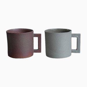 Tazze S. Pot color grigio e marrone di Maddalena Selvini, 2015, set di 2