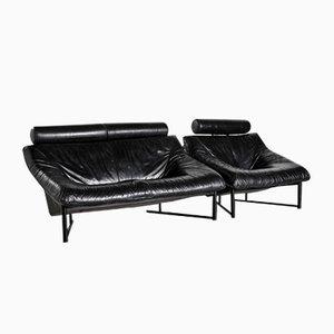 Set de Canapé Vintage en Cuir Noir, 1980s