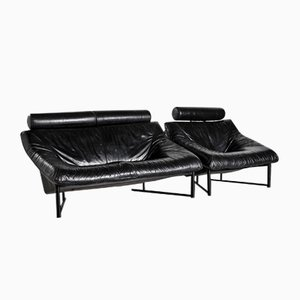 Vintage Black Leather Sofa Set, 1980s