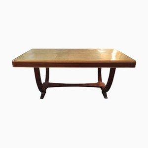Französischer vintage Tisch aus Walnuss & Paergament, 1930er